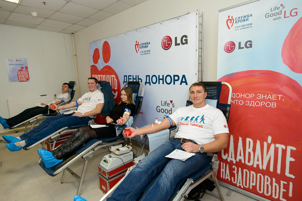 Кикбоксер Владимир Минеев принял участие в Дне донора на заводе LG Electronics